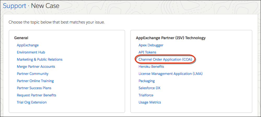 New support case topic list highlighting the Channel Order Application topic