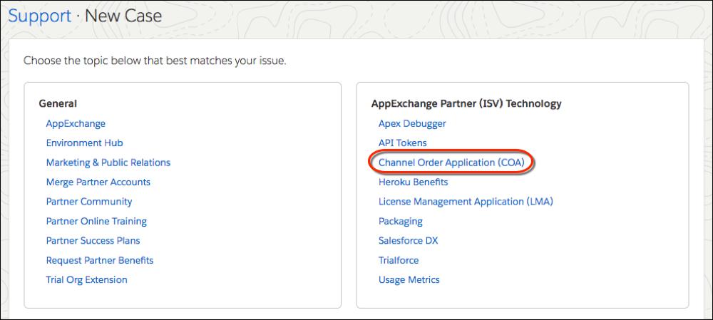[Channel Order Application] トピックが強調表示された新規サポートケースのトピックリスト