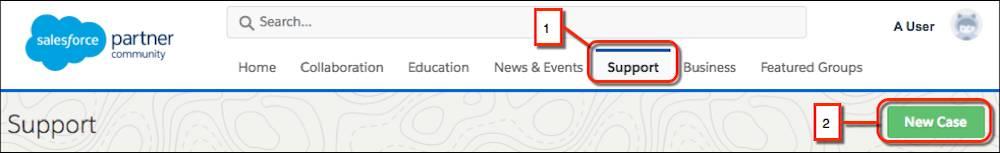 パートナーコミュニティ Web サイトの主ナビゲーションバー。[Support (サポート)] ナビゲーション要素と [New Case (新規ケース)] ボタンにコールアウトが付いています。