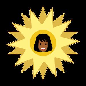 人物の頭部が中心にある金色の星