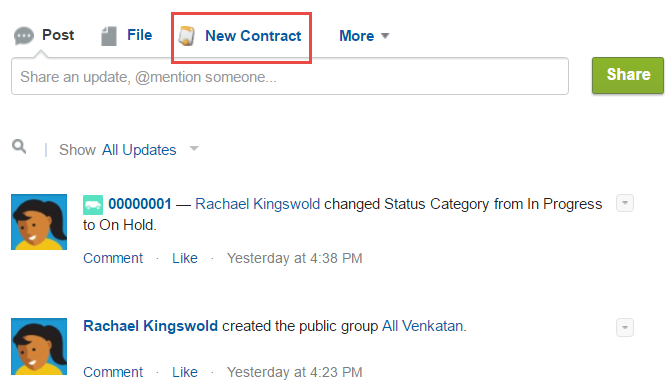 Chatter publisher with New Contact action