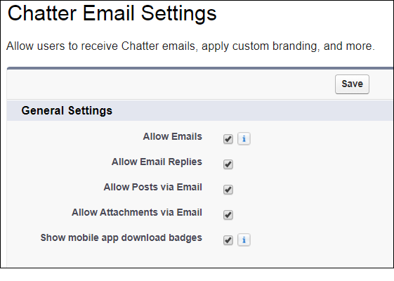 Chatter Email Settings
