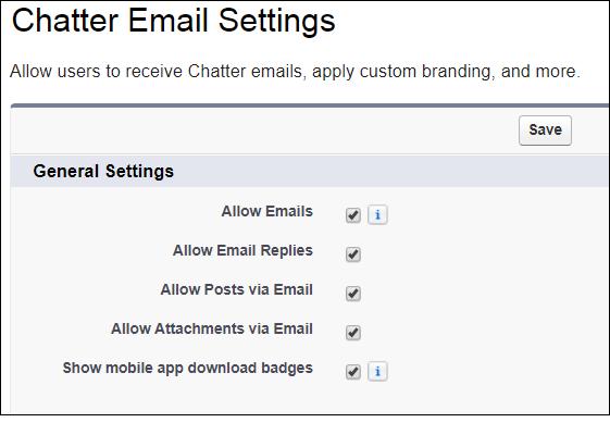 Chatter のメール設定
