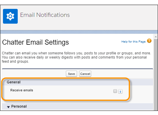 Receive emails setting