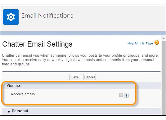 Paramètre Recevoir des e-mails