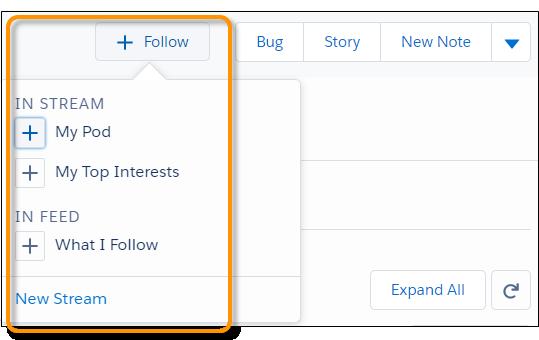 Menu Seguir depois que um usuário criou um fluxo