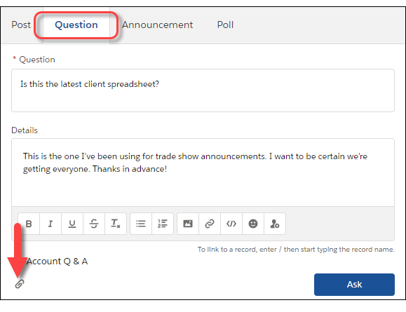 Create Posts, Polls, and Questions Unit | Salesforce Trailhead