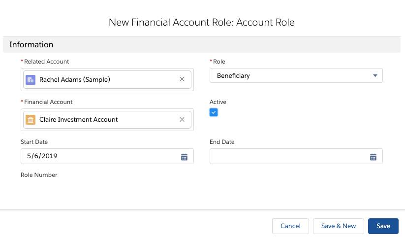 Screenshot of creating a new Financial Account Role: Contact Role page, where Rachel Adams has been set up in the beneficiary role for Nigel's Investment Account