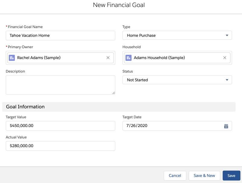 [新規投資運用ゴール] ページ。Rachel Adams の詳細が記入されています。
