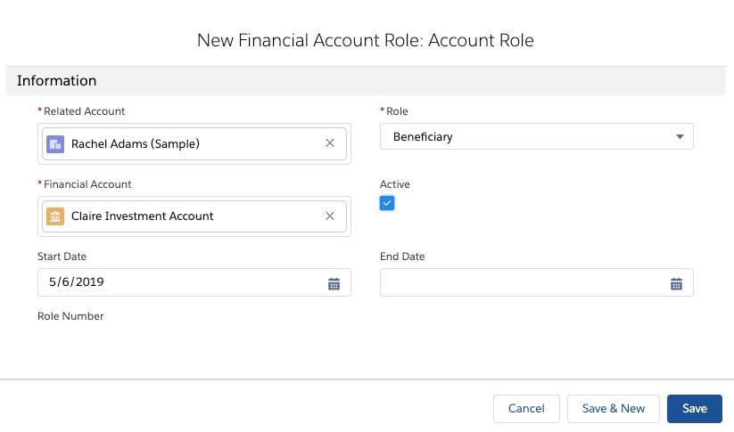 [新規金融口座ロール: 取引先責任者ロール] ページのスクリーンショット。Nigel の投資口座の受取人ロールに Rachel Adams が設定されています。