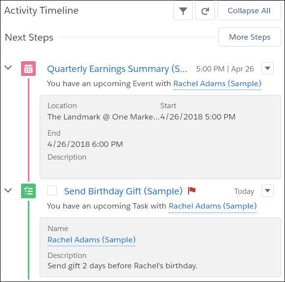 Rachel Adams client profile with the Activity Timeline highlighted to show Next Steps: Quarterly Earnings Summary and Send Birthday Gift