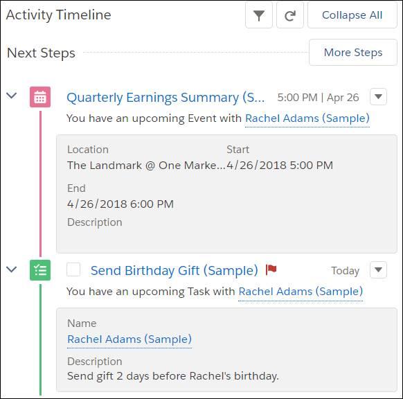 Kundenprofil von Rachel Adams mit auf der Aktivitätszeitachse markierten nächsten Schritten: Übersicht der Quartalsergebnisse und Geburtstagsgeschenk schicken