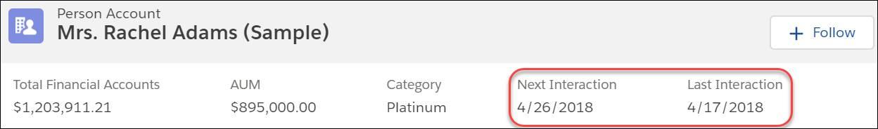 Rachel Adams' Kundenprofil mit markierter nächster Interaktion am 26.04.2018 und letzter Interaktion am 17.04.2018