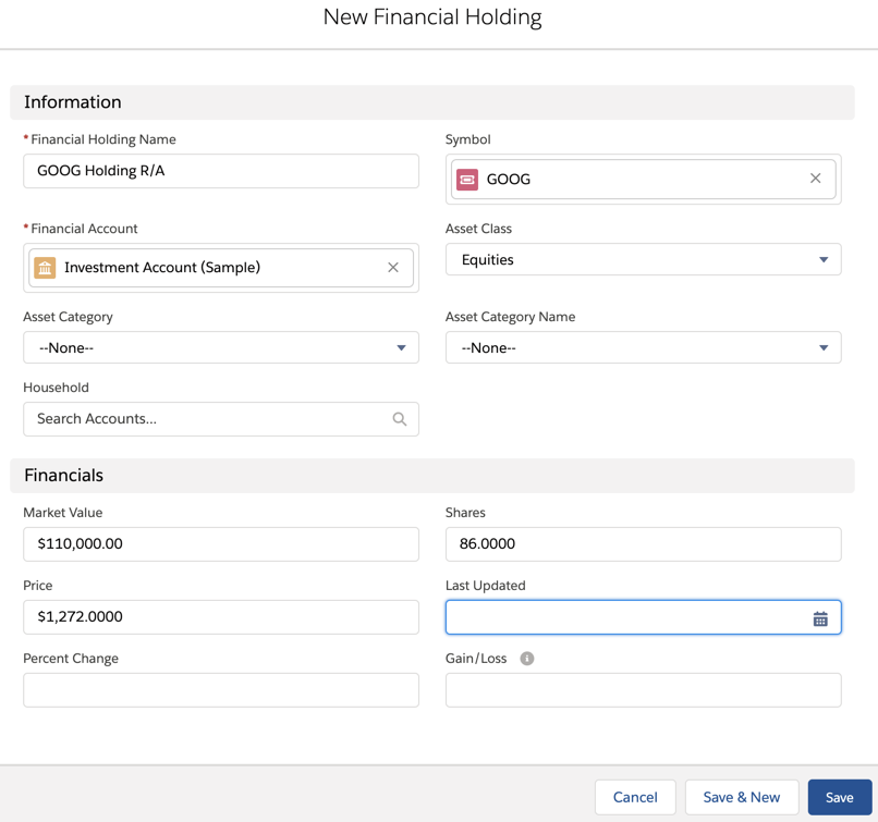 New Financial Holding page with some details filled out