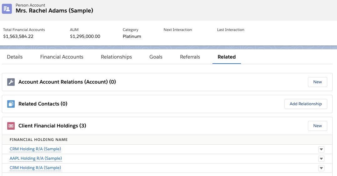 Screenshot showing Rachel's financial holdings in Salesforce and Apple stock