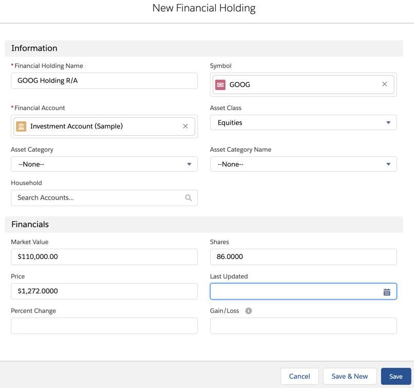 Seite 'Neue Finanzbeteiligung' mit einigen ausgefüllten Details