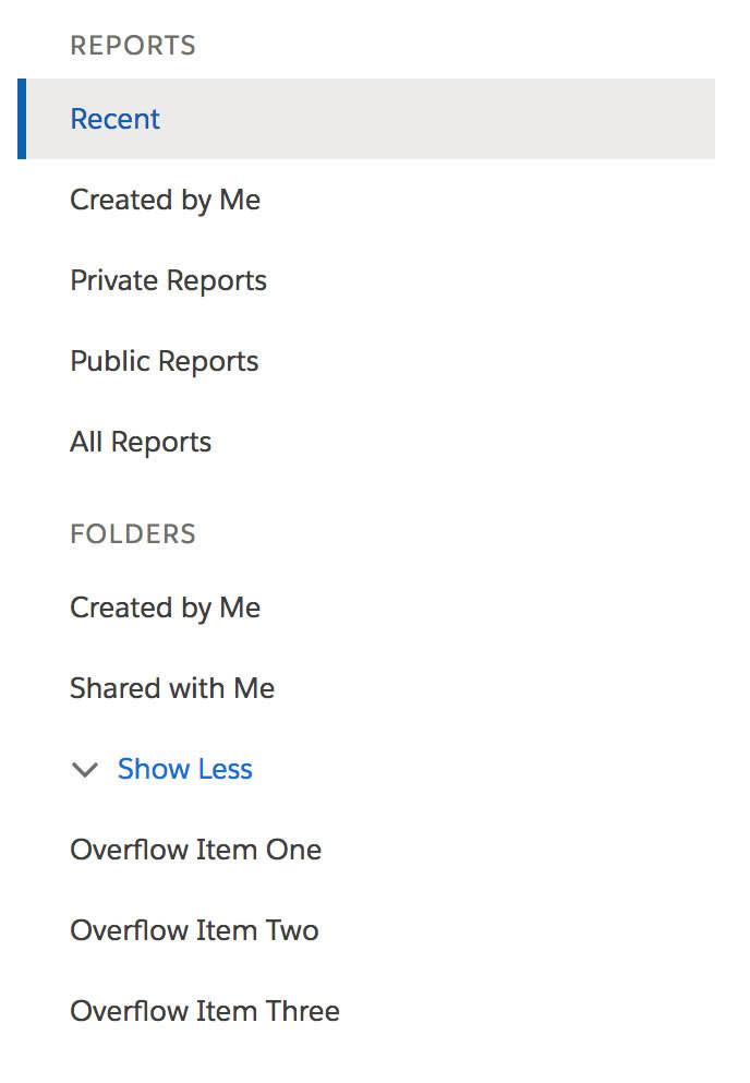 Barre de navigation Rapports avec Récent mis en évidence et un bouton intitulé Afficher moins avec plusieurs options répertoriées en dessous.