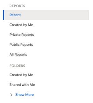 Relatórios de navegação com Recente em destaque e um botão rotulado Mostrar mais.