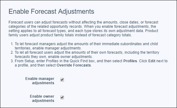 The Forecasts Settings page showing manager and owner adjustments enabled