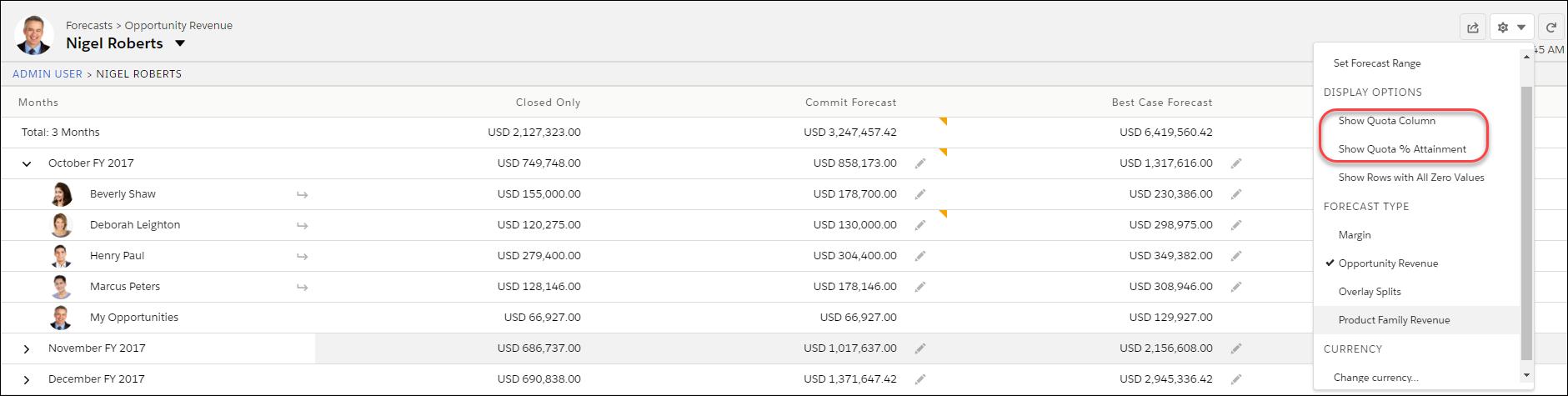 売上予測ページと目標情報の表示オプション