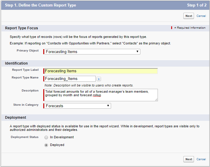The New Custom Report Type page showing a Forecasting Items report type defined