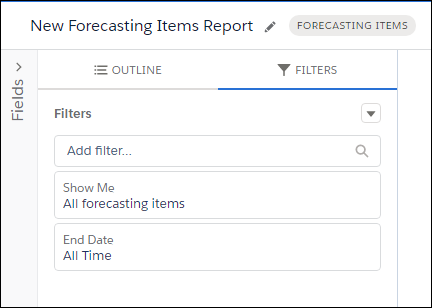 The new report in progress, with All forecasting items and All Time selected as filters