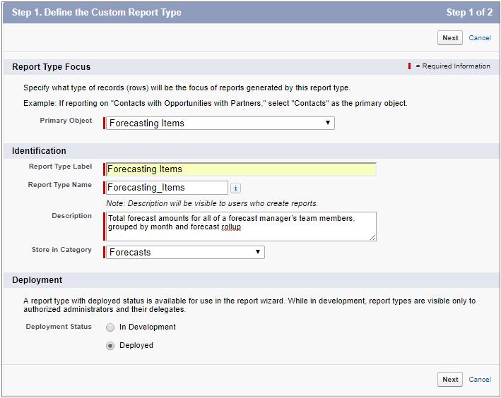 定義された Forecasting Items (売上予測データ) レポートタイプを表示している [新規カスタムレポートタイプ] ページ