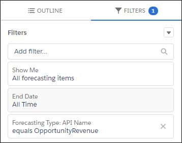 [売上予測種別: API 参照名] として商談収益が選択されている作成中の新規レポート