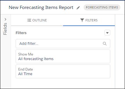 検索条件として [すべての売上予測データ] と [常時] が選択されている作成中の新規レポート