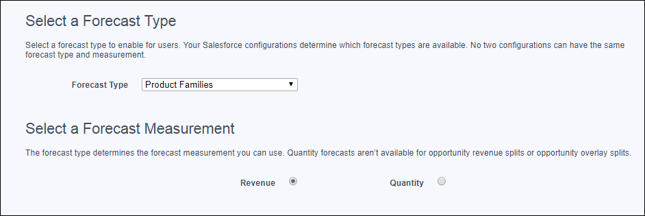 The Forecasts Settings page with the product family revenue forecast type selected to add