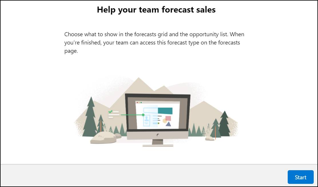 The first page of the forecast type setup flow