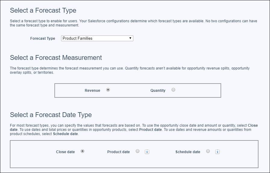 The Forecasts Settings page with the product family revenue forecast type (by close date) selected to add