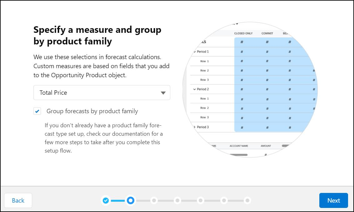 The product family forecast type page in the setup flow