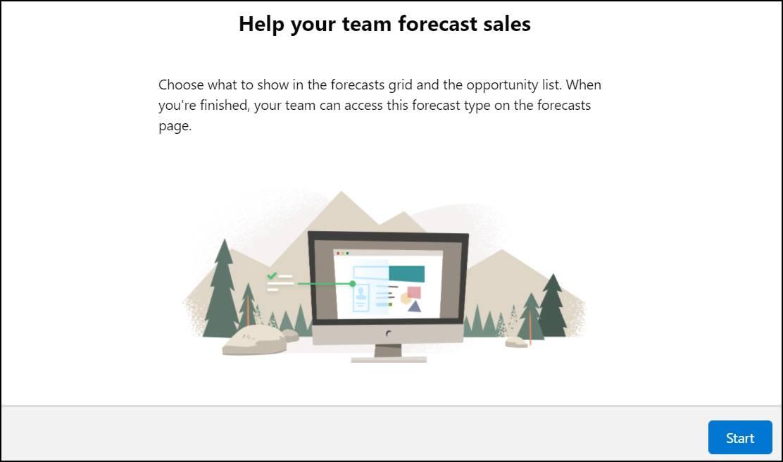売上予測種別設定フローの最初のページ