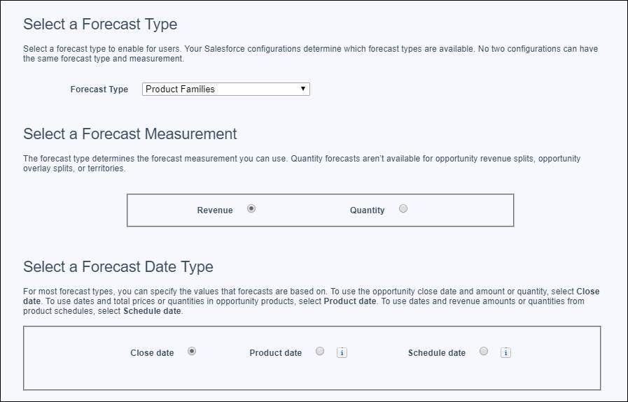 A página Configurações de previsões com o tipo de previsão de receita da família de produtos (por data de fechamento) selecionada para adicionar