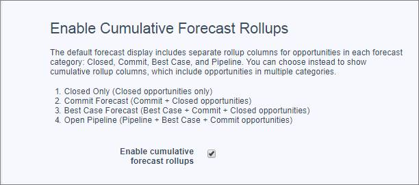 The Forecasts Settings page with Enable cumulative forecast rollups selected