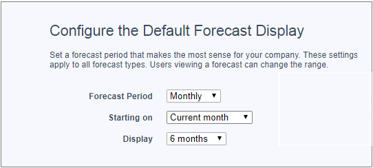 デフォルト表示期間として [6 か月] が選択された [売上予測の設定] ページ