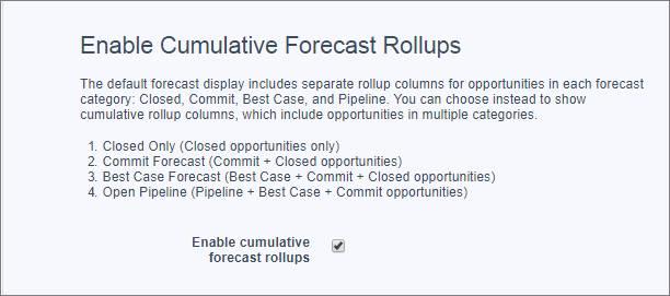 A página Configurações de previsões com a opção Habilitar totalizações de previsão cumulativas selecionada