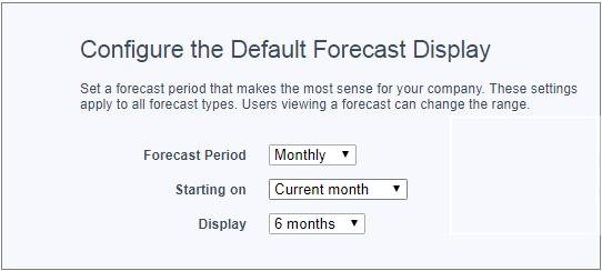 A página Configurações de previsões com a opção de 6 meses selecionada como exibição padrão