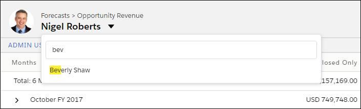 チームメンバーの売上予測に簡単にアクセスできる Nigel の [売上予測] ページ