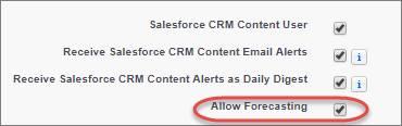 A página Editar usuário em Configuração com a opção Permitir previsões selecionada