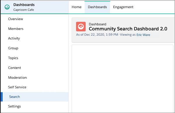 Dashboards page with the Search dashboard highlighted