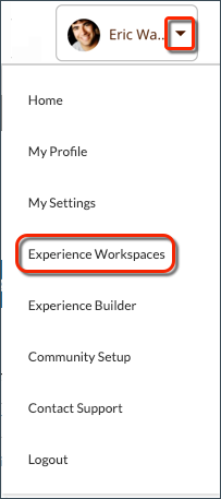 The profile header dropdown menu, with Experience Workspaces selected