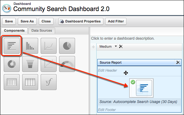 The Community Search Dashboard, showing the report types (bar chart, table, etc.) and where to drag the report type you want
