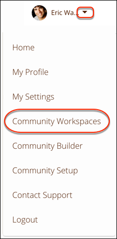 The profile header dropdown menu, with Community Workspaces selected
