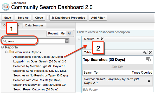"The Community Search Dashboard, showing the Reports list, reports matching the word ""search,"" and where to drag the report you want on the dashboard"