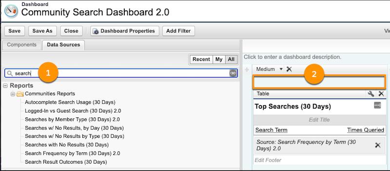 Community Search ダッシュボード。[レポート] リスト、用語に一致したレポート、レポートが表示されている
