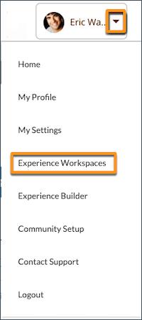 Menu suspenso do cabeçalho do perfil com a opção Experience Workspaces selecionada