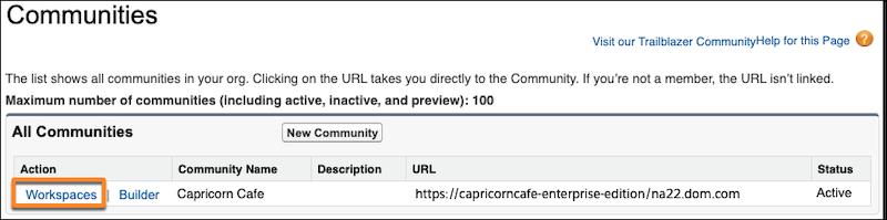 Página de configuração das comunidades, com o link Espaços de trabalho do Capricorn Cafe em destaque e selecionado