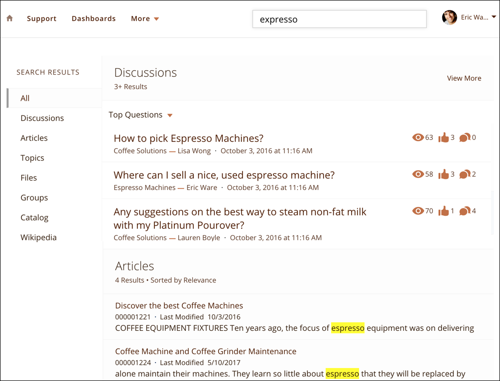 "The search results page, showing the search term ""expresso"" and results for ""espresso"
